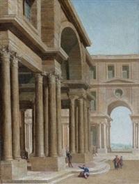cour d'un palais classique animé de personnages by philippe meusnier