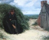en gammel kone siddende i marehalmsklædte klitter ved sin hytte by hans christian koefoed