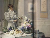 arranging flowers by william samuel henry (sir) llewellyn