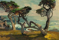 cypress & sea, the artist's wife near the carmel coast by franz arthur bischoff
