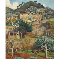 majorcan hillside by adrian paul allinson