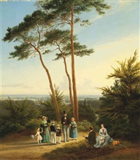 the artist painting his family in a wooded landscape by pierre louis dubourcq