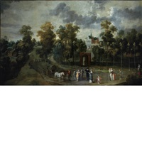 figures on a road before the gate of a country estate by jan siberechts