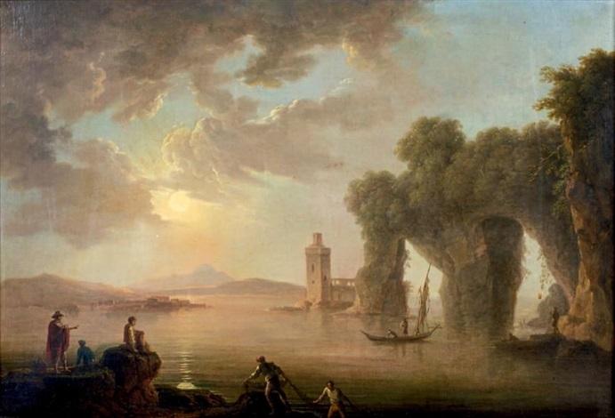 rivage de la méditerranée avec des ruines antiques et une tour à gauche et à droite derrière un voilier un château à deux tours by carlo bonavia