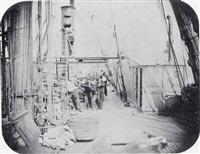 manoeuvres au cabestan sur le pont de l'ardent by paul-emile miot