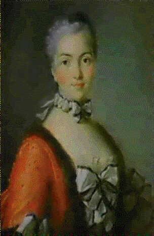portrait d'une dame de qualite portant une robe rouge bordee de fourrure by pierre allais