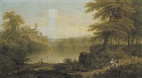 an italianate wooded lakeside landscape with figures in the foreground and a town on a hill beyond by george lambert