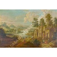 a) scena di paesaggio b) personaggi nel paesaggio by mathys balen