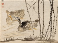 ducks on a pond, qing by huang shen