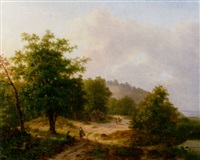 a mountainous wooded landscape with travellers conversing on a sandy track by hendrik verpoeken
