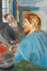 krøyer sitting in front of the easel with his portrait of drachmann by michael peter ancher