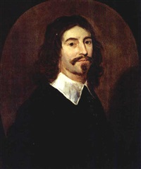 a portrait of a gentleman wearing a black suit with white collar by willem van honthorst