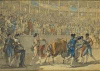 puntillero donnant le coup de grâce à un taureau dans les arènes royales de madrid by jean démosthène dugourc