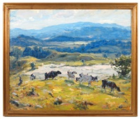 cows in hilly pasture by george glenn newell