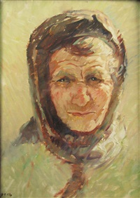 old woman portrait by nicolae enea