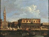 le quai du grand canal avec le palais ducal, vu depuis la lagune by francesco tironi