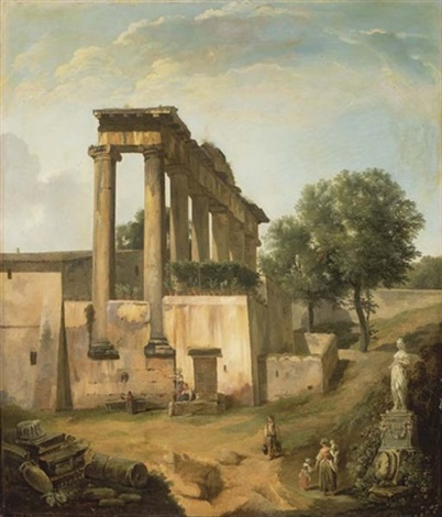 vue du temple de jupiter à rome avec des personnages by lancelot théodore turpin de crissé