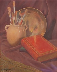 a very early still life with book, paint brushes and bowl by edward burns quigley