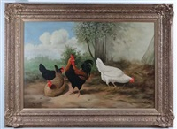 a cockerel and three hens in an country setting (after cornelis van leemputten) by ray jacob