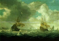 shipping in stormy seas by julius porcellis