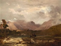 highland scenery: a snow storm passing off by frederick richard lee