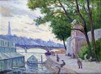 paris, la seine, bateaux-lavoirs by maximilien luce
