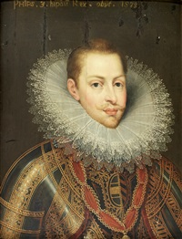 portrait of philip iii of spain, bust-length, in armour wearing the order of the golden fleece; portrait of the infanta clara eugenia, sister of king philip iii, bust-length (pair) by frans pourbus the younger