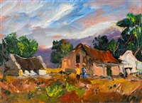 farm cottages and figures by christiaan nice