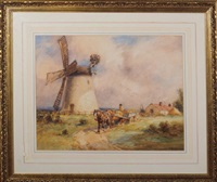 a horsecart passing a windmill by john atkinson