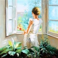 a girl at a window by alexander akopov