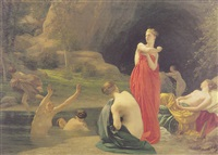 diana and her nymphs surprised by actaeon by armand henri joseph cambon