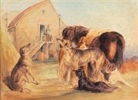 cani da caccia e un cavallo nel cortile con un cacciatore sull'uscio by henry parsons riviere