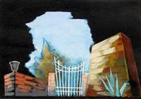 bozzetto per scenografia - strano interludio giardino by enrico prampolini