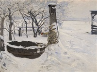 winter am brunnen by eduard kaempffer