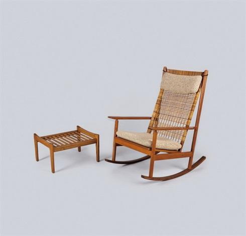 Hans Olsen #532a Teak Rocking Chair; Hans J. Wegner Ge 290 Footstool