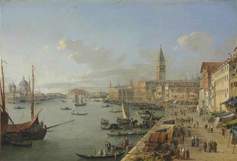 a view of venice with the doges palace saint marks campanile and santa maria della salute by robert roberti