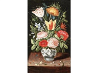 tulips, roses, narcissi and other flowers in a vase on a table top by andries daniels