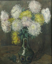 vase with chrysanthemas by marius bunescu