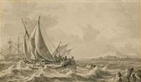 voiliers pris dans une tempête by hendrik rietschoof