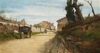 village street with horse drawn cart by david young cameron