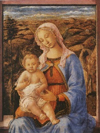 the madonna and child seated on a window-ledge, a landscape beyond by (francesco di stefano) pesellino