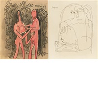 untitled (adam and eve); untitled (seated figure) (2 works) by francis newton souza