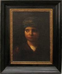 jeune garçon au turban, en buste by jules de bleye