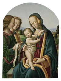 madonna and child with two angels by giovan maria di bartolomeo bacci di belforte