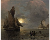 a coastal landscape with sailing ships by moonlight by andreas achenbach
