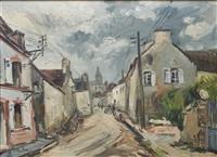 rue de village au clocher by fernand herbo