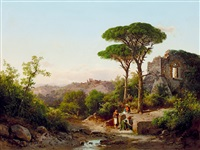 italian landscape with ruins and well by karoly marko the younger