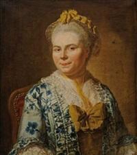 portrait de femme à la robe de soie bleue et jaune by jacques andré joseph aved