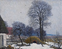 winter landscape in pomerania by carl hessmert