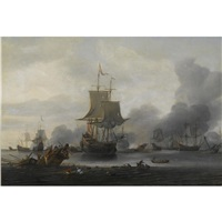 a naval battle in a calm sea with a dutch man-o-war firing a canon and a shipwreck in the foreground by reinier nooms